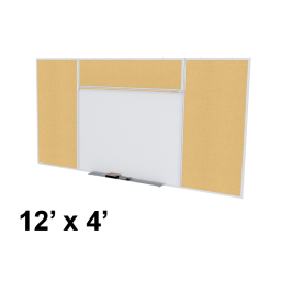 Ghent Style-E 12' x 4' Natural Cork Tackboard and Porcelain Magnetic Combination Whiteboard