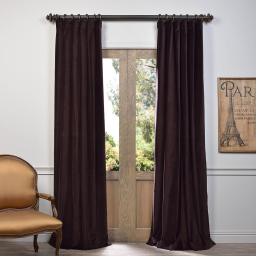 Espresso Vintage Cotton Velvet Curtain
