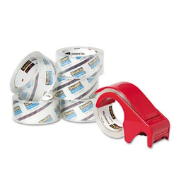 """Scotch Heavy-Duty Packaging Tape with Dispenser  Clear  6-Pack  3"""" Core"""