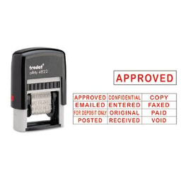 """Trodat Self-Inking  12-Message Stamp  1-1/4"""" x 3/8""""  Red Ink"""