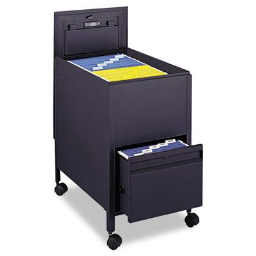 """Safco 17"""" W Locking Mobile Tub File Cart with Drawer  Black"""