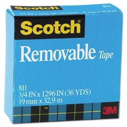 """Scotch 3/4"""" x 1296""""  1"""" Core Removable Tape  Clear"""