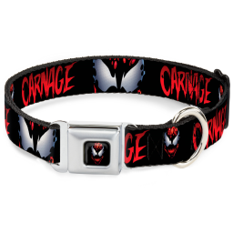 Carnage Face Black/Reds/White Seatbelt Buckle Collar - CARNAGE Face/Eyes Black/Red/White