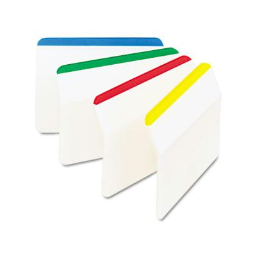 """Post-It 2"""" x 1-1/2"""" Angled Hanging File Tabs  Striped Assorted  24/Pack"""