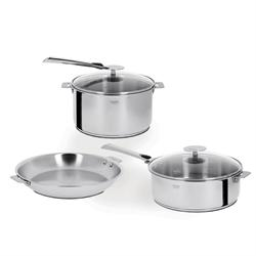 Cristel Casteline Multiply 5-Ply Stainless 7-Piece Cookware Set, Removable Handles