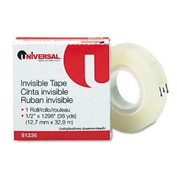 """Universal 1/2"""" x 36 yds Invisible Office Tape  1"""" Core"""