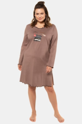 Plus Size 2 Pack of  Long Sleeve Cotton Knit Sleep Tees