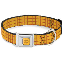 Toy Story Woody Cowboy Buckle Logo Full Color Golds Seatbelt Buckle Collar - Toy Story Woody Bounding Plaid Shirt Gold/Red
