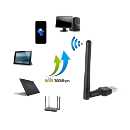 USB WiFi Adapter 300Mbps USB Wireless Network Card Adapter Dongle with 2dBi Antenna for Desktop Laptop PC for Windows 7 8 2000 XP Vista for MAC OS
