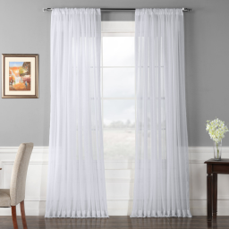 Extra Wide Solid White Voile Poly Sheer Curtain