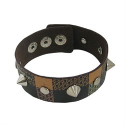 Muti Color Leather Bracelet  with Spikes