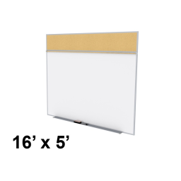 Ghent Style-A 16' x 5' Natural Cork Tackboard and Porcelain Magnetic Combination Whiteboard