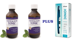 Tooth and Gums Tonic 18 Oz. Pack of 2 Bottles + Dr. Tung Ionic Toothbrush