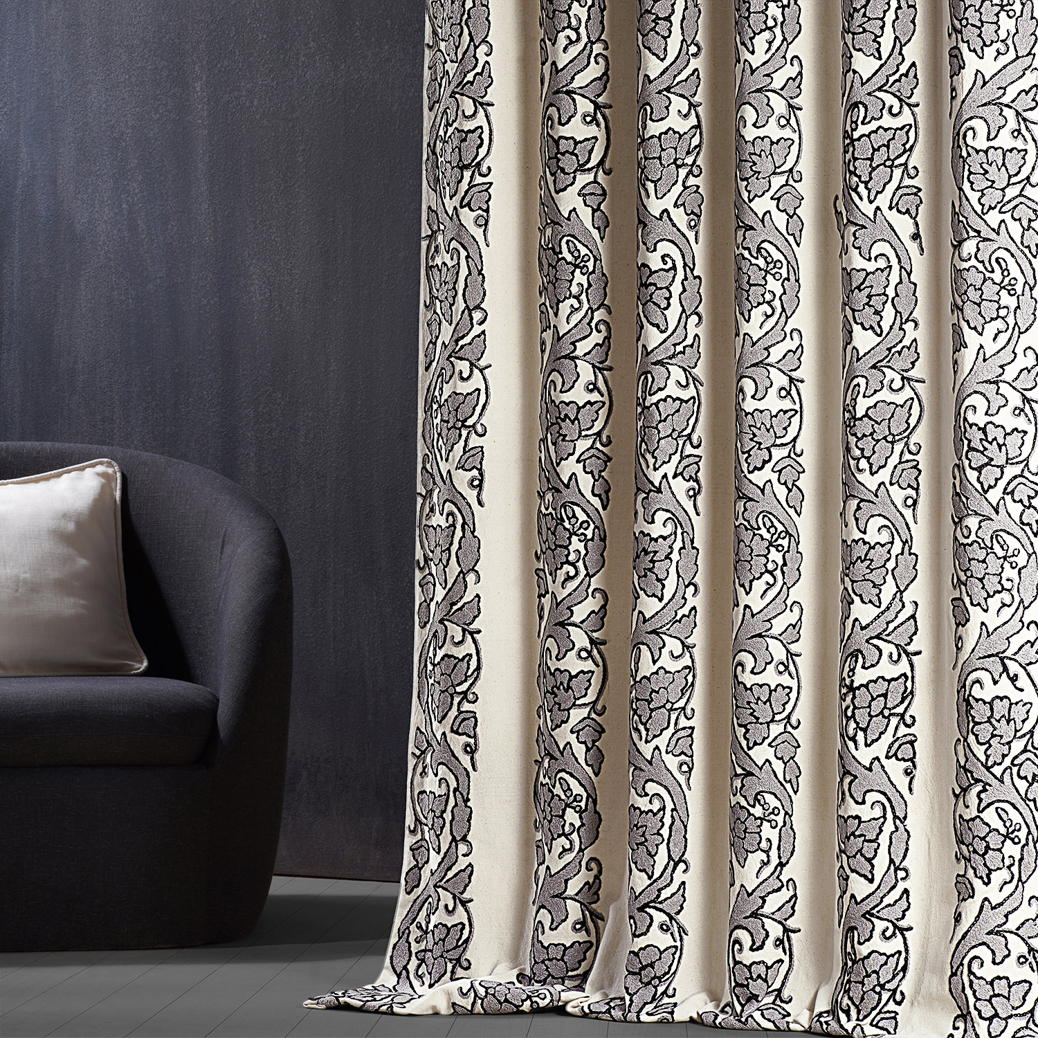 Florence Grey Embroidered Cotton Crewel Curtain