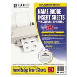 """C-Line 4"""" x 3"""" Additional Name Badge Inserts  White  60/Pack"""
