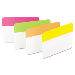 """Post-It 2"""" x 1-1/2"""" Flat Hanging File Tabs  Assorted Bright  24/Pack"""