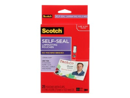 Scotch(tm) Self-Seal Laminating Pouches, ID Badge/Tag Size, 25 Pouches with Clips (LS852G)