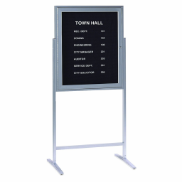 Ghent Sentry 2.5' x 3' Freestanding Pin-On Enclosed Letter Board  Black/Silver