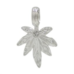 Pot Leaf Silver Plated Pendant with Jewel