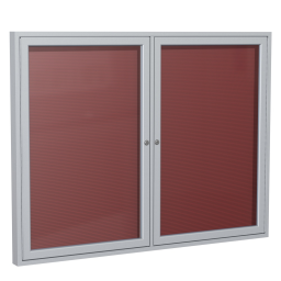 Ghent Outdoor 5' x 4' Pin-On Enclosed Vinyl Letter Board  Burgundy/Silver