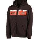 Men's Majestic Brown Cleveland Browns Touchback Full-Zip Hoodie