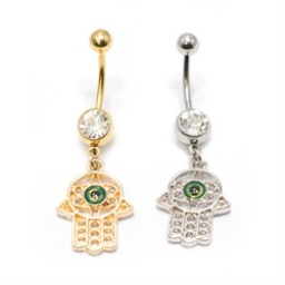 """Hamsa  Design Belly Button Ring Gold IP or Surgical Steel 14ga-7/16""""(11mm)"""