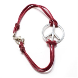 Red Leather Bracelet with Peace Sign