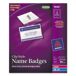 """Avery 2-1/4"""" x 3-1/2"""" Top Load Clip Badge Holder Kit with Badge Insert  White  100/Box"""