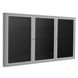 Ghent Outdoor 6' x 4' Pin-On Enclosed Vinyl Letter Board  Black/Silver