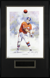 """Broncos John Elway Signed & Framed 13x19 """"Catch This"""" Litho LE #61/700 BAS"""