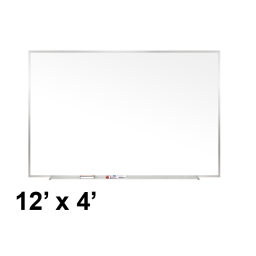 Ghent Traditional 12' x 4' Aluminum Frame Porcelain Magnetic Whiteboard