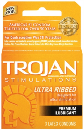 Trojan Stimulations Ultra Ribbed Lubricated Condoms - 3 Pack