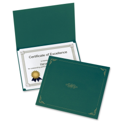 """Oxford 9-3/4"""" x 12-1/2"""" 5-Pack Certificate Holder  Green"""