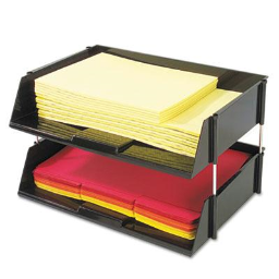 """Deflect-o 3-1/2"""" H Two-Tier Industrial Stacking Tray Set  Black"""