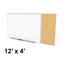 Ghent Style-C 12' x 4' Natural Cork Tackboard and Porcelain Magnetic Combination Whiteboard