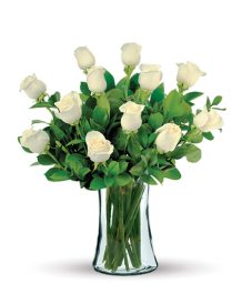 12 White Long-Stem Roses Bouquet Flower Delivery