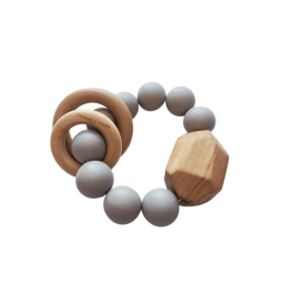 Hayes Silicone + Wood Teether Toy - Gray
