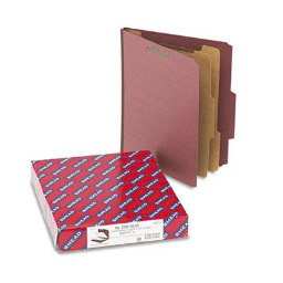 Smead 6-Section Letter 25-Point Pressboard Top Tab Classification Folders  Red  10/Box