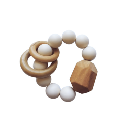 Hayes Silicone + Wood Teether Toy - Cream