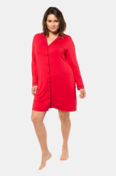 Plus Size Piped Accent Button Front Stretch Knit Sleep Shirt