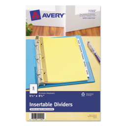 """Avery WorkSaver Big Clear 5-Tab 5-1/2"""" x 8-1/2"""" Insertable Dividers  Buff  1 Set"""