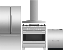 Fisher & Paykel Active Smart 4 Piece Kitchen Appliances Package with French Door Refrigerator, Gas Range and Dishwasher in Stainless Steel FPRERADWRH7
