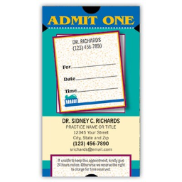 Medical Arts Press(r) Dual-Imprint Peel-Off Sticker Appointment Cards; Premium, Admit One/Vertical