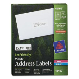 """Avery 2-5/8"""" x 1"""" EcoFriendly Laser & Inkjet Mailing Labels  White  3000/Pack"""