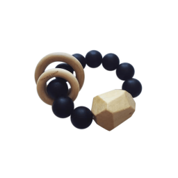 Hayes Silicone + Wood Teether Toy - Black