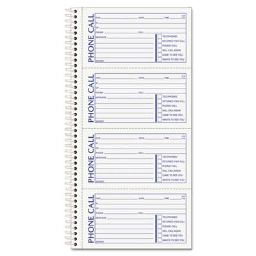 """TOPS 2-3/4"""" x 5"""" 100-Page 2-Part Second Nature Phone Call Book  400-Forms"""