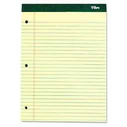 """TOPS 8-1/2"""" X 11-3/4"""" 100-Sheet Double Docket Legal Rule Pad  Canary Paper"""