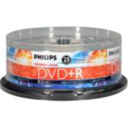 Philips DR8S8B25F/17 2.4x Write-Once Double Layer DVD R - 25 Pack