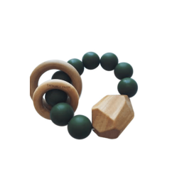 Hayes Silicone + Wood Teether Toy - Kale