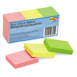 """Redi-Tag 1 1/2"""" x 2"""" Self-Stick Notes  Neon  12 100-Sheet Pads/Pack"""